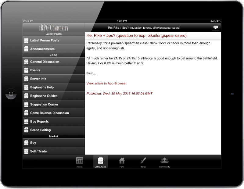 cRPG Community Mobile App | iPhone, iPad, & Android
