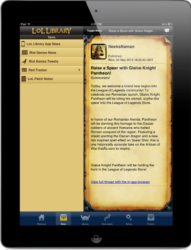Lol Library: League of Legends Mobile App | iPhone, iPad